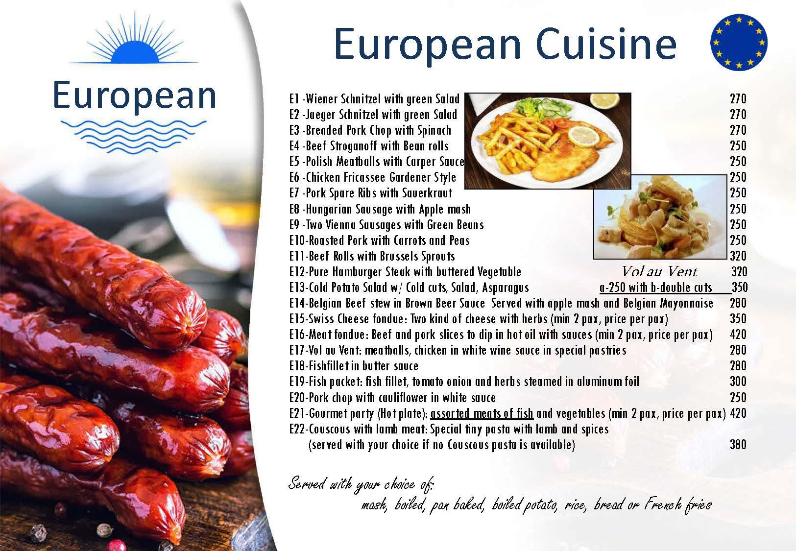European Cuisine Menu