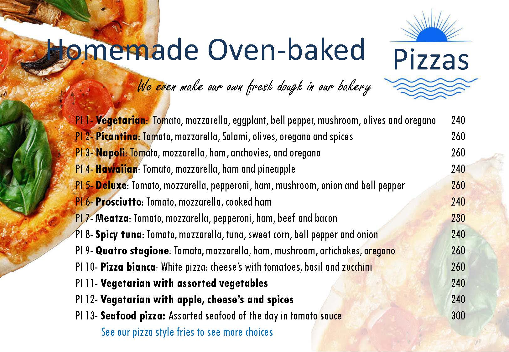 Homemade Oven-Baked Pizzas Menu